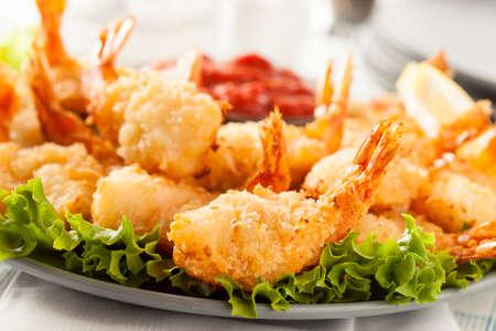 Fried Organic Coconut Shrimp with Cocktail Sauce Reklamní fotografie
