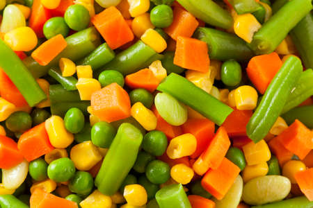 lima: Steamed Organic Vegetable Medly  with Peas, Corn, Beans, and Carrots