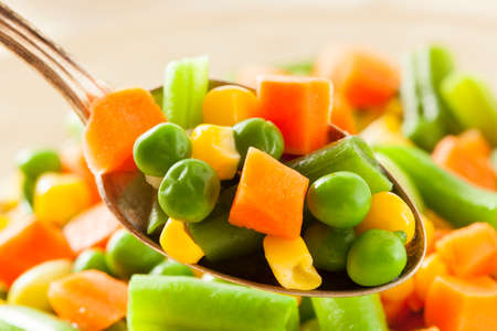 french bean: Steamed Organic Vegetable Medly  with Peas, Corn, Beans, and Carrots