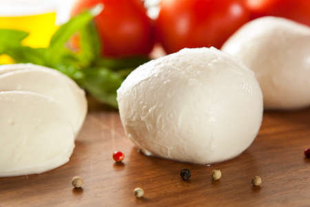 Homemade Organic Mozzarella Cheese with Tomato and Basil