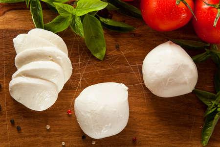 mozzarella cheese: Homemade Organic Mozzarella Cheese with Tomato and Basil