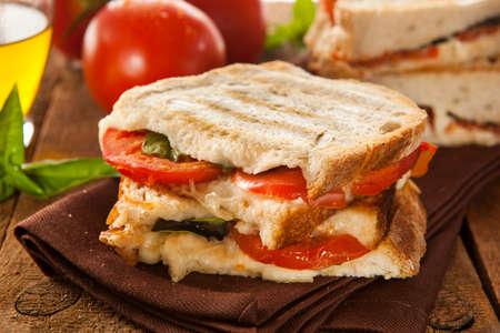 italian cheese: Homemade Tomato and Mozzarella Panini with Basil