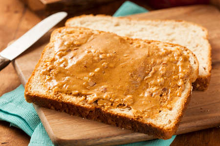 Homemade Chunky Peanut Butter Sandwich on Whole Wheat Bread