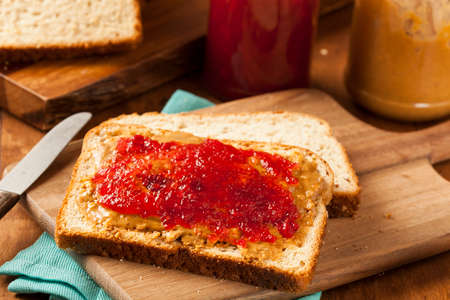 peanut butter and jelly sandwich: Homemade Peanut Butter and Jelly Sandwich on Whole Wheat