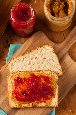 Homemade Peanut Butter and Jelly Sandwich on Whole Wheat photo