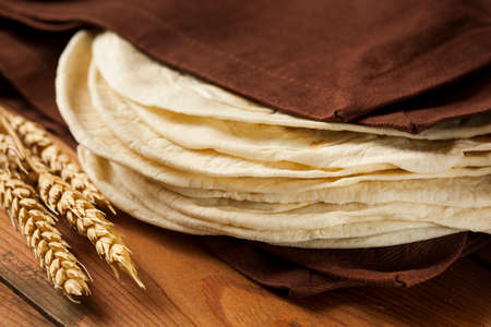 tortillas: Stack of Homemade Whole Wheat Flour Tortillas
