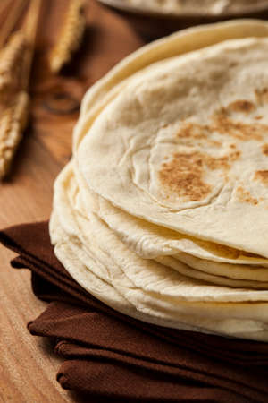 pita: Stack of Homemade Whole Wheat Flour Tortillas