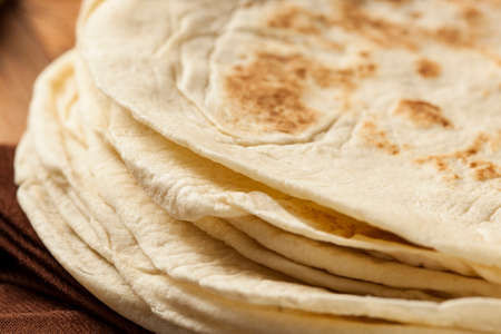 Stack of Homemade Whole Wheat Flour Tortillas  photo