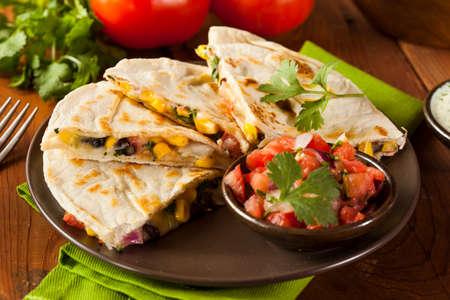 sandwich de pollo: Queso casero y Quesadilla de frijoles con ma�z y salsa Foto de archivo