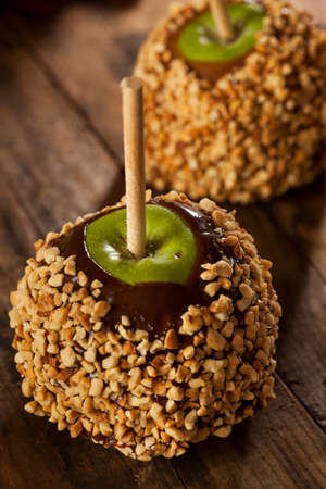 taffy: Homemade Caramel Taffy Apple with Peanuts for Halloween