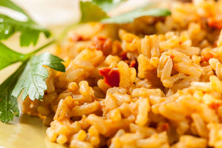 Homemade Spanish Rice with Parsley Ready to Eat Banque d'images