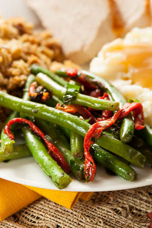 greenbeans: Organic Healthy Green Beans with Red Peppers