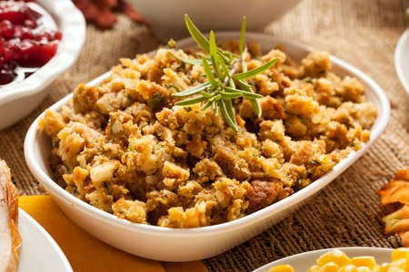 roast turkey: Homemade Thanksgiving Stuffing Made with Bread and Herbs Stock Photo