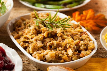 stuffing: Homemade Thanksgiving Stuffing Made with Bread and Herbs Stock Photo