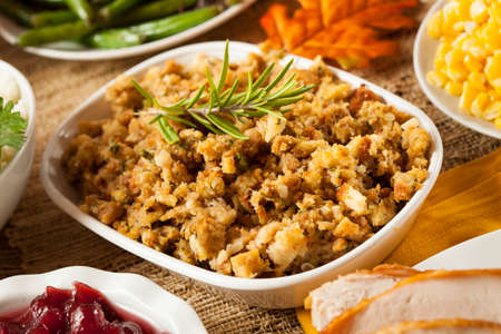 Homemade Thanksgiving Stuffing Made with Bread and Herbs Stock Photo