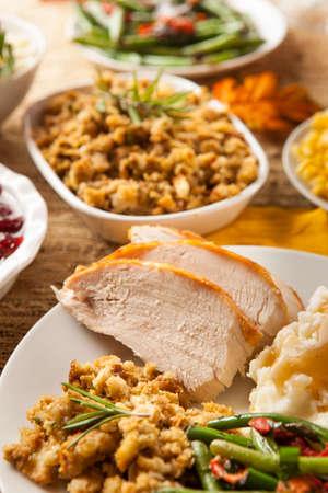 Homemade Sliced Turkey Breast for Thanksgiving Dinner photo