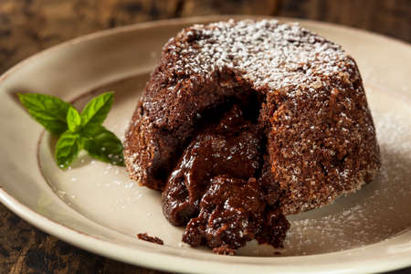 Homemade Chocolate Lava Cake Dessert with Mint Stock Photo