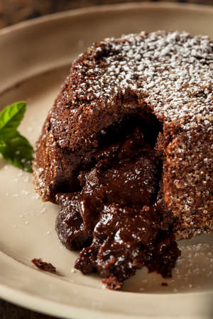 molted: Homemade Chocolate Lava Cake Dessert with Mint Stock Photo