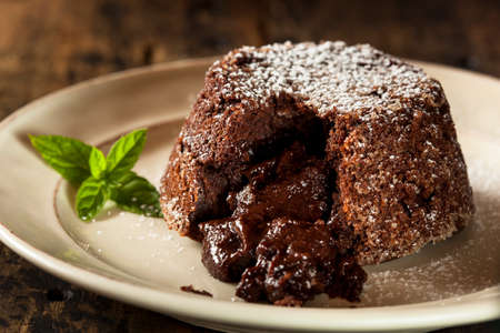 Homemade Chocolate Lava Cake Dessert with Mint photo