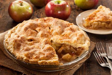 먹을 수 제 유기농 사과 파이 디저트 준비 스톡 콘텐츠