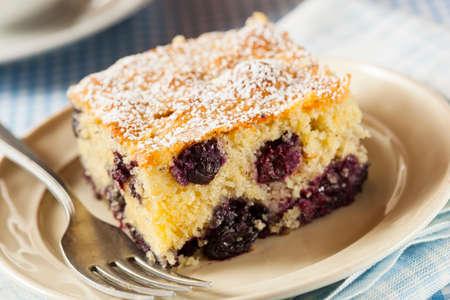 cafe y pastel: Hecho en casa pastel de caf� blueberrry con az�car en polvo