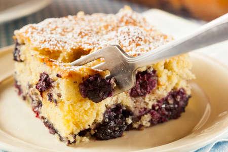 cafe y pastel: Homemade blueberrry pastel de caf� con az�car en polvo