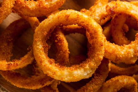 Homemade Crunchy Fried Onion Rings with Ketchup photo