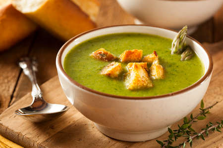 Homemade Green Asparagus Soup with Crunchy Croutons