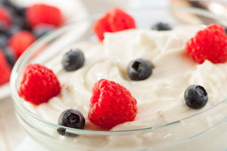 Fresh Organic Healthy Yogurt with Raspberries and Blueberries