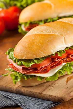 Homemade Italian Sub Sandwich with Salami, Tomato, and Lettuce 版權商用圖片 - 24048818