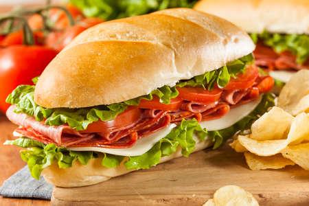 Zelfgemaakte Italiaanse Sub sandwich met salami, tomaat en sla