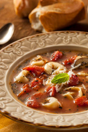 Rustic Homemade Tortellini Soup with Tomato, Basil, and Spinach photo