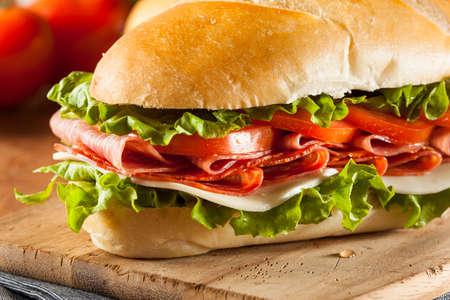 sub sandwich: Homemade Italian Sub Sandwich with Salami, Tomato, and Lettuce
