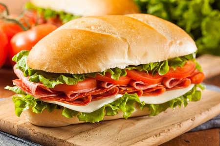 살라미 소시지, 토마토, 양상추와 함께 집에서 이탈리아어 하위 샌드위치 스톡 콘텐츠