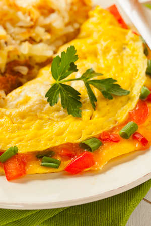 Homemade Organic Vegetarian Cheese Omelette with Onions and Peppers photo