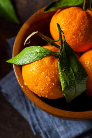 Resfreshing Organic Mandarin Orange with Green Leafs