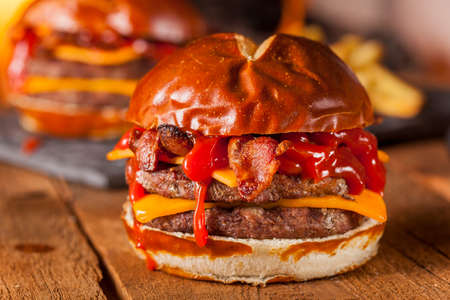 Unhealthy Homemade Barbecue Bacon Cheeseburger with Fries