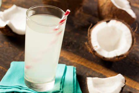 Fresh Organic Coconut Water in a Glass photo