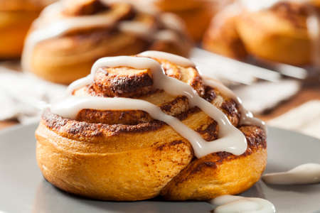 flaky: Homemade Cinnamon Roll Pastry with Vanilla Icing