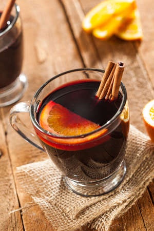 Festive Red Hot Spiced Wine For Christmas with Oranages