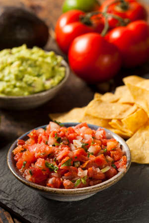 chips and salsa: Homemade Pico De Gallo Salsa and Chips Ready to Eat