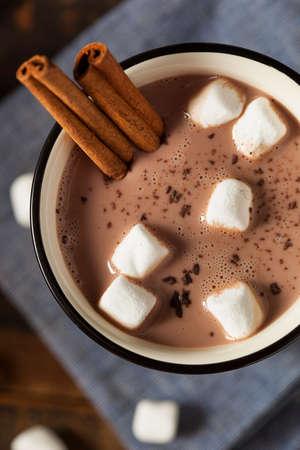 hot chocolate: Gourmet Chocolate con leche caliente con canela y malvaviscos Foto de archivo