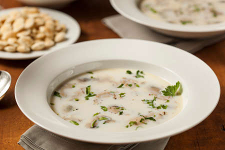 shucked: Homemade Organic Oyster Stew with Crackers and Parsley