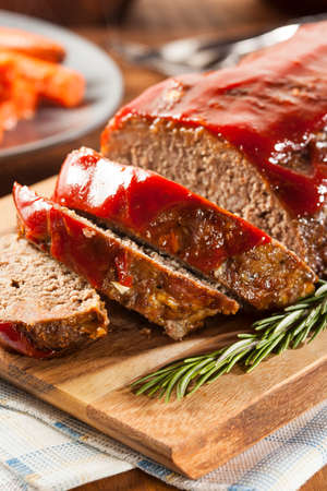 Homemade Ground Beef Meatloaf with Ketchup and Spices Stock Photo - 24927668