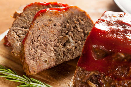 Homemade Ground Beef Meatloaf with Ketchup and Spices Stock Photo - 24927669