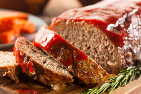 Homemade Ground Beef Meatloaf with Ketchup and Spices photo
