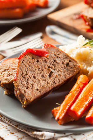 Homemade Ground Beef Meatloaf with Ketchup and Spices Stock Photo - 24927671