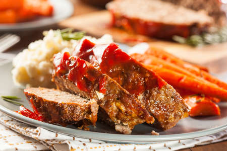 Homemade Ground Beef Meatloaf with Ketchup and Spices Stock Photo - 24927672