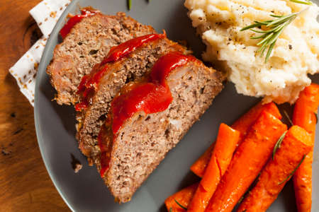 baked potato: Homemade Ground Beef Meatloaf with Ketchup and Spices