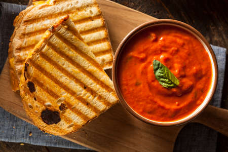 Grilled Cheese Sandwich with Creamy Tomato Basil Soup